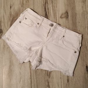True Religion Joey Cut off white shorts